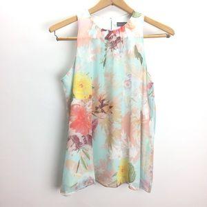 Vince Camuto Floral Blouse w/ Keyhole Back Size S